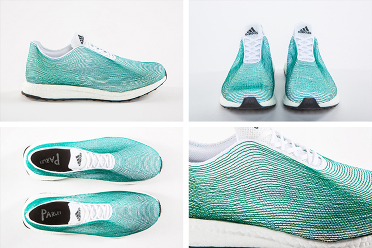 From Sea To Shoe! Made of yarns and filaments reclaimed from
